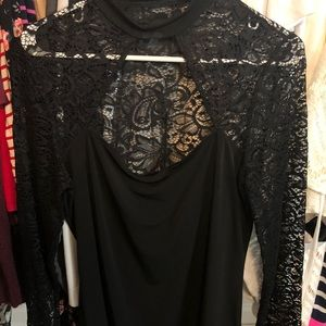 Lacy black long sleeve top w/ cut out